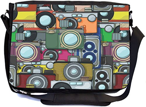 Rikki Knight Vintage Camera Pattern Design Multifunctional Messenger Bag - School Bag - Laptop Bag - with padded insert for School or Work - Includes Matching Compact Mirror