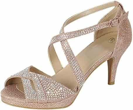 00e942381d1 Cambridge Select Women s Peep Toe Crisscross Ankle Strappy Glitter Crystal  Rhinestone Mid Heel Sandal