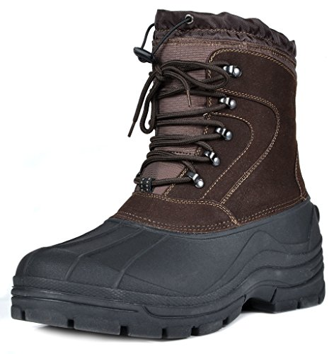 DREAM PAIRS Men's Force-2 Brown Insulated Waterproof Winter Snow Boots Size 14 M US