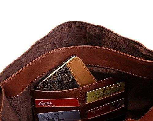 DRF Leather Business Messenger Bag Satchel Briefcase for Men Laptop Office Bag BG-263 (Brown) by DRF (Image #5)