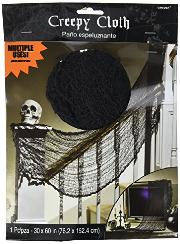 Amscan Creepy Haunted House Cloth Decoration Halloween Trick or Treat Party, Fabric, Black, 60