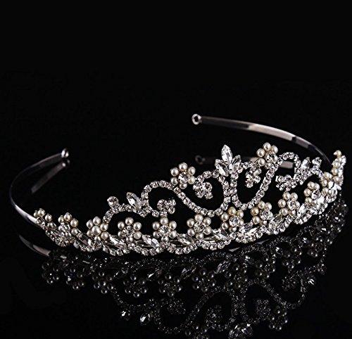 Strass Faits À La Main De Mariage Baroque De Mariée Perles Coiffe Diadèmes Princesse Serre-tête Couronne