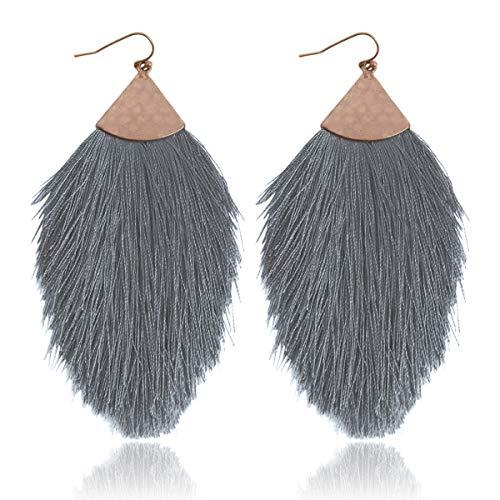 - Antique Bohemian Silky Thread Fan Tassel Statement Drop - Vintage Gold Feather Shape Strand Fringe Lightweight Hook/Acetate Dangles Earrings/Long Chain Necklace (Earrings Feather Fringe - Gray)