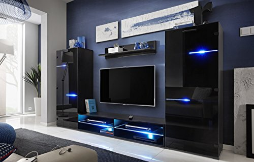 Amazon.com: MEBLE FURNITURE U0026 RUGS Modern Entertainment Center Wall Unit  LED Lights 70 Inch TV Stand, High Gloss Black: Kitchen U0026 Dining