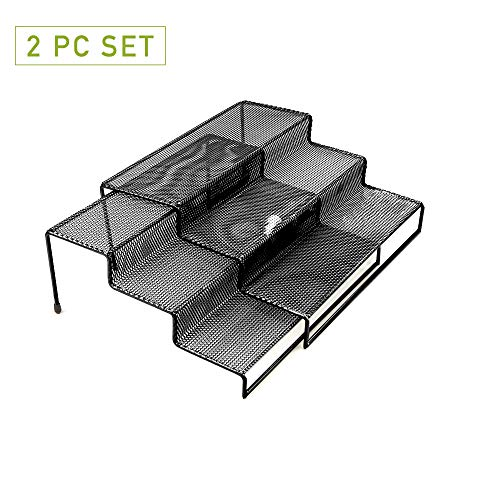 - Mind Reader 3TSHELF2-BLK 3 Tier Multi Purpose Kitchen Storage Organizer Steps, 2 Pack, Metal Mesh, Black