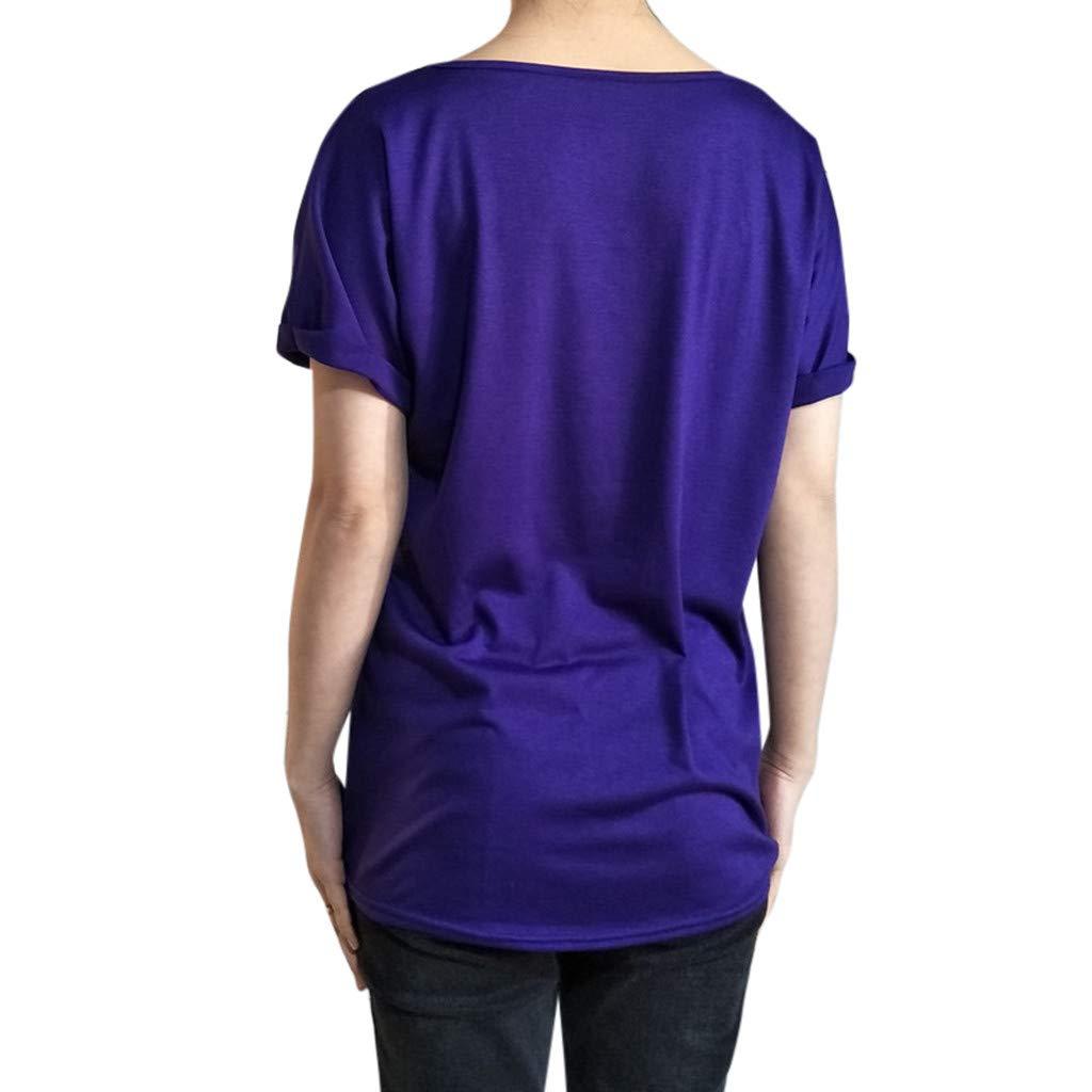 ZODOF Camisas Mujer Casual Cuello Block Manga Corta Camiseta Tops Sudadera Blusa Sweatshirt T-Shirt: Amazon.es: Ropa y accesorios