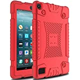 Venoro Case for All-New Amazon Fire 7 Tablet, Light Weight Shockproof Soft Silicone Defender Protective Case Cover for Amazon Kindle Fire 7 (7th Generation - 2017 Release Only) (Red)