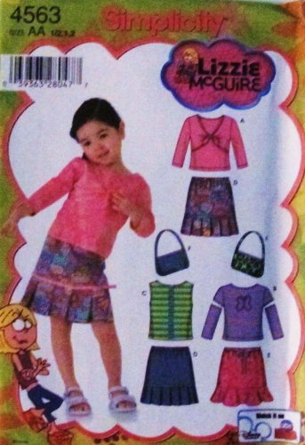 Simplicity 4563 Lizzy McGuire Toddler / Girl Skirt, Purse, Knit Tops (Size 1/2, 1, 2) - DISNEY (Knit Tops Holiday)