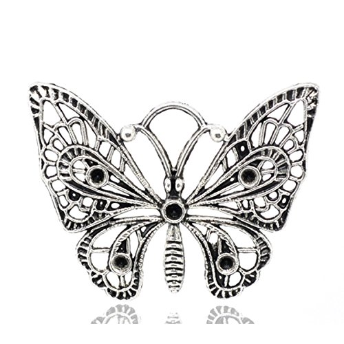 Housweety Silver Butterfly Pendants 48x36mm