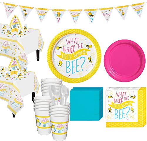 Party City Little Honey Bee Gender Reveal Party Supplies for 32 Guests, Include Plates, Napkins, Cups, and Decorations]()
