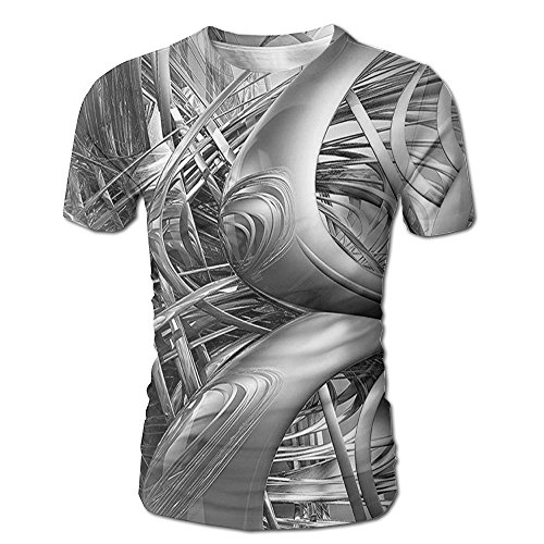 Edgar John Science Fiction Theme 3D Cyber Futuristic Background Pattern Technologic Men's Short Sleeve Tshirt XXL ()