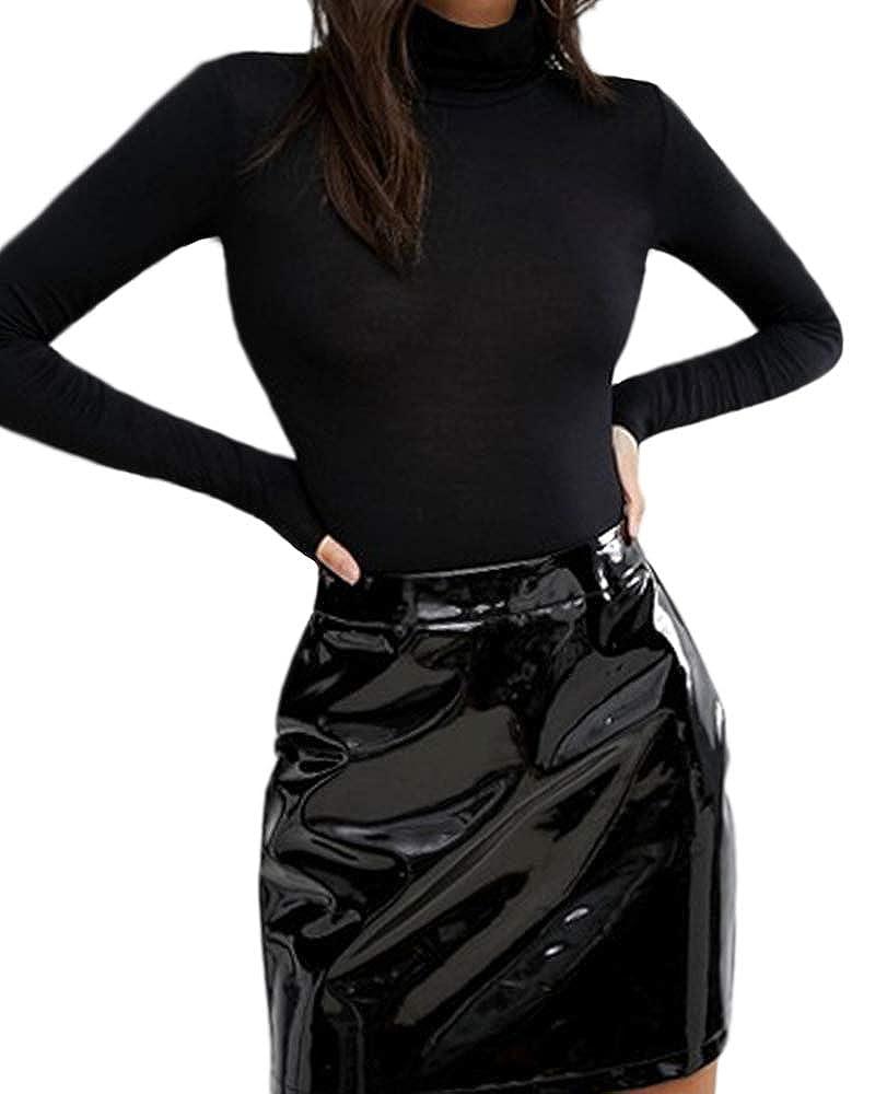 Mangopop Womens Mock Neck Long Sleeve Modal Bodysuits Jumpsuits