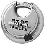 Dshall 4 Digit Combination Disc Padlock with Hardened Steel Shackle Silver Lock for Sheds, Storage Unit, Gym and Fence (1 Pack)