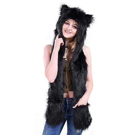 Moda Bufanda Grande Chal Engrosamiento Sombrero al Aire Libre con Bolsillo Bufanda Estudiante Linda Chica