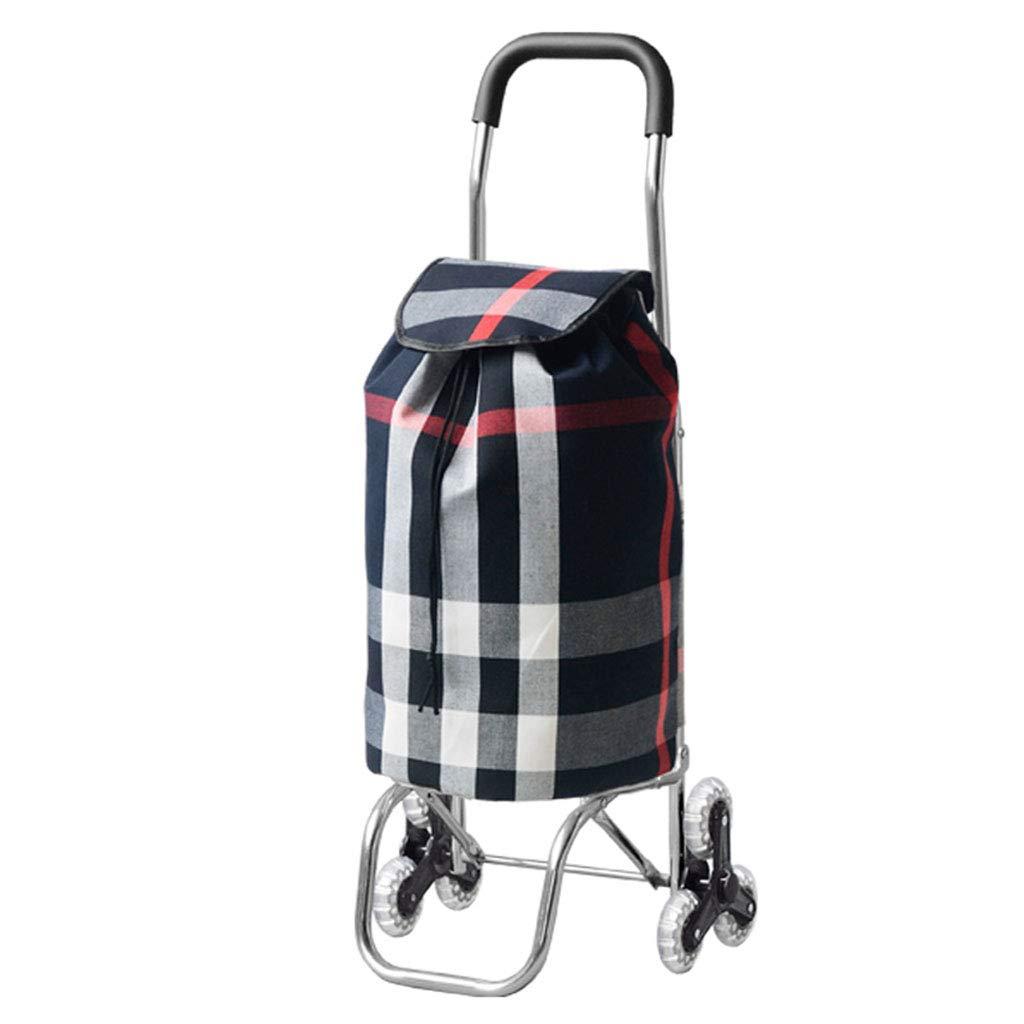 キャンバスバッグ超軽量アルミ合金ハンドプッシュ牽引荷物階段老人スーパーマーケット食料品買い物小さなトロリー車 (色 : Daqingge) B07L73DFDS Daqingge
