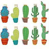 millet16zjh 10Pcs Cute Cactus Wooden DIY Paper Photo Clip Card Holder Wall Home Decor Random Color