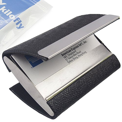 kilofly Business Card Holder - 2 Storage Slot Compartments - Malachi, PU Leather (Cheap Business Cards)