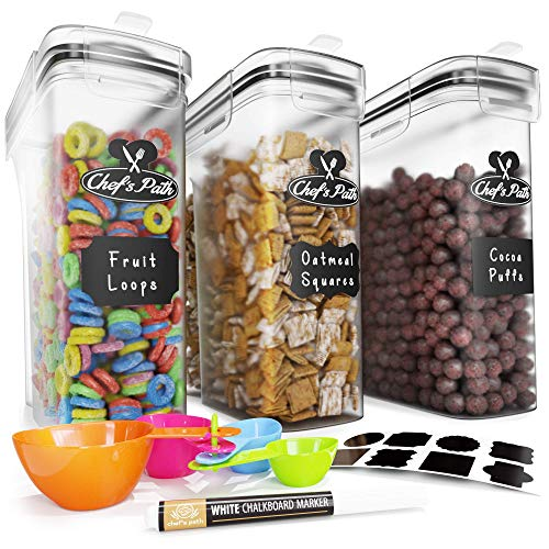 Cereal Container Storage Set  Airtight Food Storage Containers 8 Labels Spoon Set amp Pen Great for Flour  BPAFree Dispenser Keepers 1352oz  Chef#039s Path 3