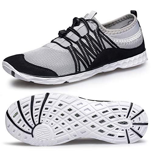 Alibress Quick Drying Water Shoes for Men Quick-Dry Men's Aqua Shoes for Water Aerobics Breathable Beach Grey Water Sports Shoes for Men 9.5 M US