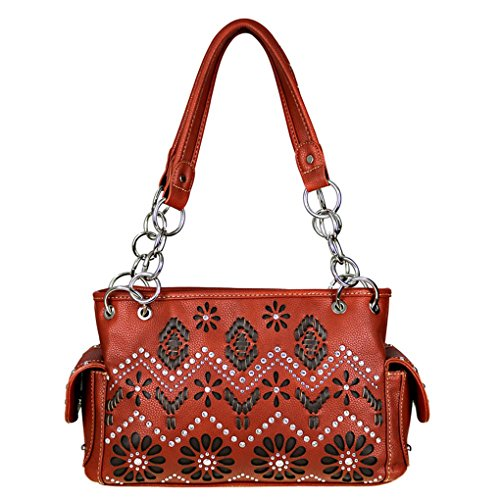 Saddle Brown Montana Aztec West Collection Concealed Western Satchel Carry Handbag wPxxU6paqB