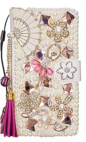 STENES LG V40 ThinQ Case - Stylish - 3D Handmade Bling Crystal Fan Tassel Pendant Ballet Girls Magnetic Wallet Credit Card Slots Fold Stand Leather Cover for LG V40 / LG V40 ThinQ - Hot Pink ()