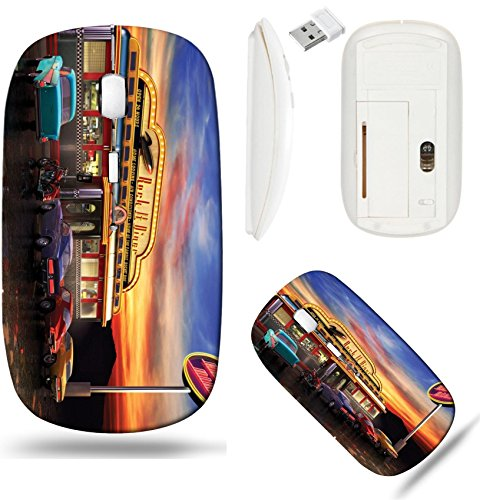 Diner Scroll (Liili Wireless Mouse White Base Travel 2.4G Wireless Mice with USB Receiver, Click with 1000 DPI for notebook, pc, laptop, computer, mac book Retro American diner at dusk Photo 7058883)