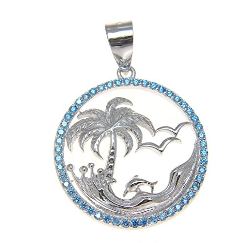Arthur's Jewelry 925 Sterling Silver 0.75 ct Blue Topaz Hawaiian Palm Tree Dolphin Wave Pendant