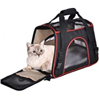 Gluckluz Pet Carrier Airline Approved Travel Bag Under Seat with Mesh Top and Soft-Sided for Dog Cat (Black, Large Size)