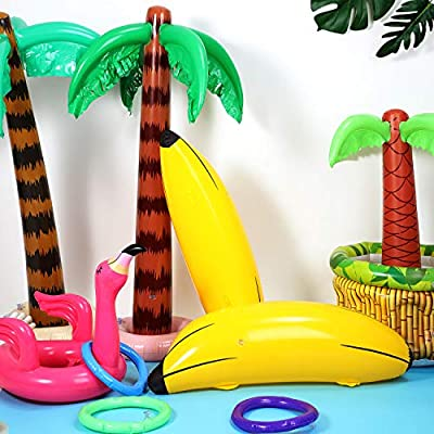 Gejoy Set of 4 Inflatable Palm Trees and Beach Inflatable Banana for Hawaiian Pool Luau Party Decoration (Style 3): Toys & Games