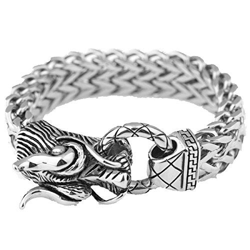 (17mm Figaro Chain Bracelet Men's Jewelry Silver Stainless Steel Dragon Head)