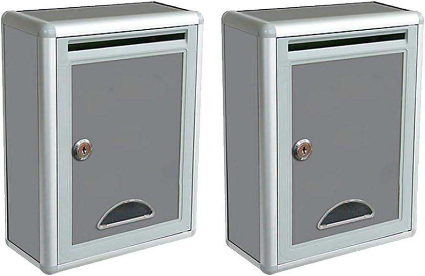 HomeDecTime 2 Paquetes De Buzón De Correo De Montaje En Pared Exterior De Hierro Buzón con Cerradura Buzón Buzones De Correo Exterior Buzón De Bloqueo