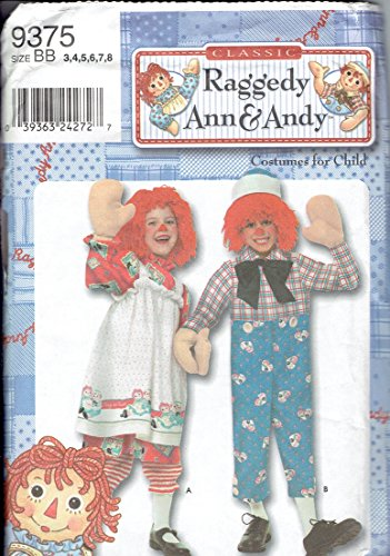 Make Raggedy Andy Costume (Simplicity Sewing Pattern - 9375 - Use to Make - Child Raggedy Ann & Andy Costumes - Sizes 3, 4, 5, 6, 7, 8)