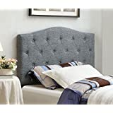 furniture of america satin flax fabric button tufted headboard twin gray