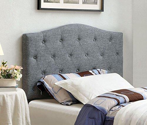 Furniture of America Satin Flax Fabric Button Tufted Headboard, Twin, Gray