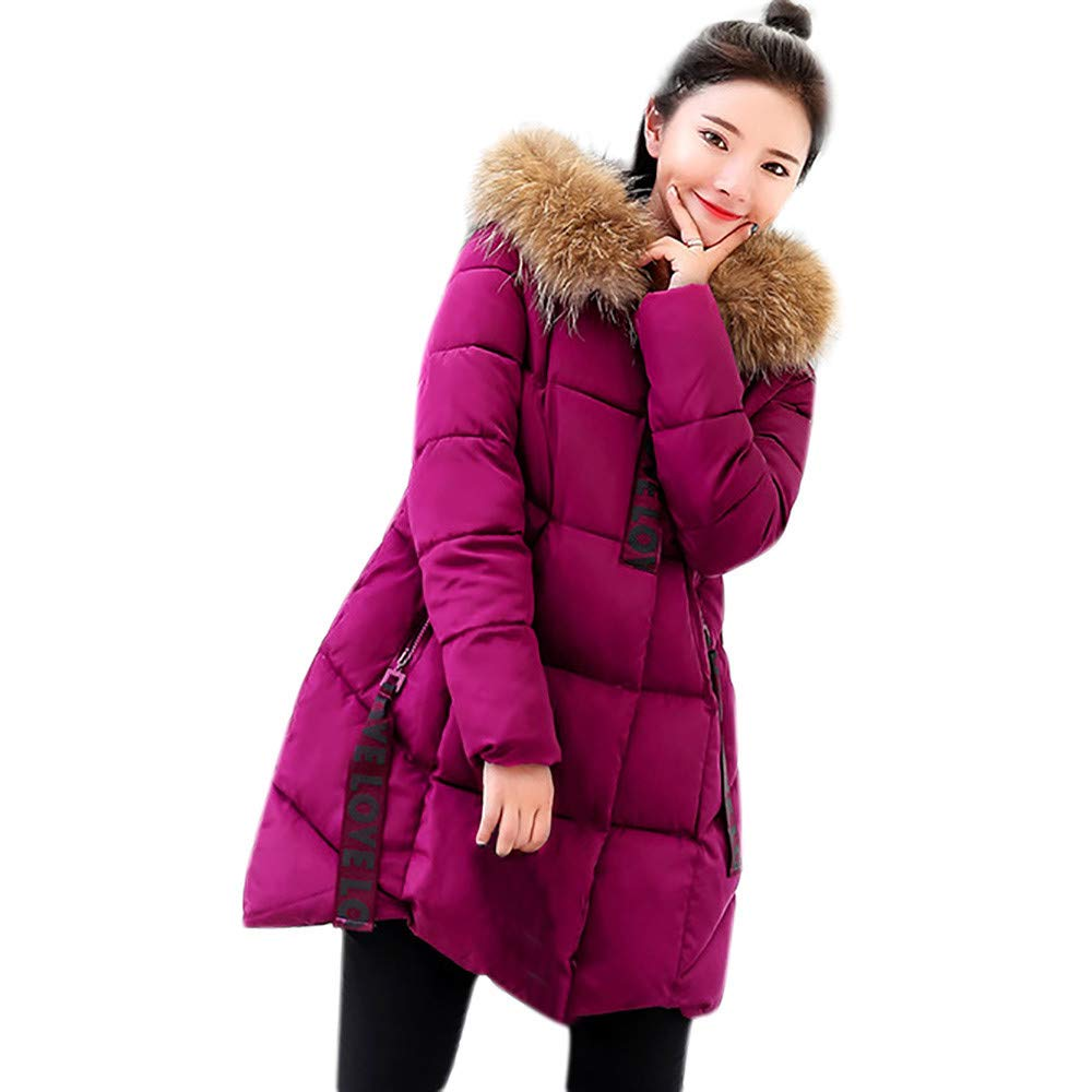 Fashionhe Thicker Fur Collar Cotton Parka Slim Jacket Women Hooded Outwear Warm Coat Long Overcoat(Hot Pink.XXL) by Fashionhe