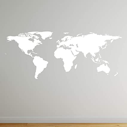 Amazon.com: Stickerbrand White World Map Wall Decal Sticker Home ...
