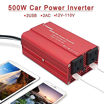 LVYUAN 500W Power Inverter DC 12V to 110V AC Car Inverter with 3.1A Dual USB Car Adapter: Car Electronics