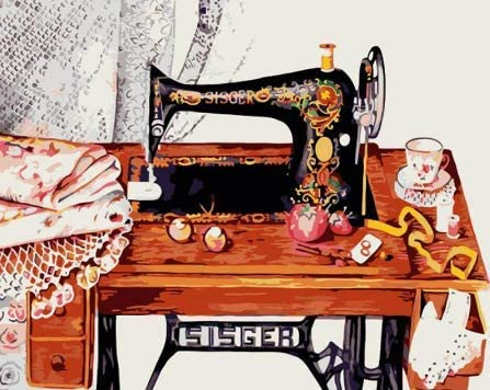 Máquina de coser vintage DIY pintura digital pintada regalos ...