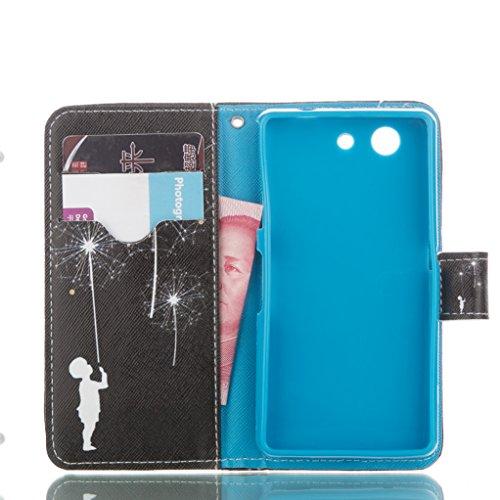 Trumpshop Smartphone Carcasa Funda Protección para Sony Xperia Z5 Compact + Fox y Conejo Blanco + PU Cuero Caja Protector con Función de Soporte Ranuras para Tarjetas Choque Absorción Fuegos Artificiales