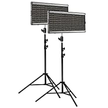 Neewer 2-Pack Dimmable Bi-color 960 LED Video Light and Stand Lighting Kit: Ultra Thin 960 LED Panel with U Bracket and Metal Frame, 9 feet Light Stand for Studio, YouTube Outdoor Video Photography