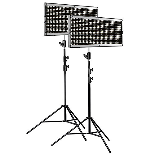 Neewer 2-Pack Dimmable Bi-color 960 LED Video Light and Stand Lighting Kit: Ultra Thin 960 LED Panel with U Bracket and Metal Frame, 9 feet Light Stand for Studio, YouTube Outdoor Video Photography by Neewer