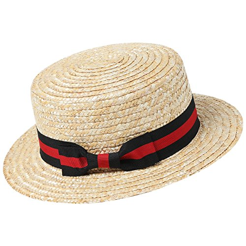 BABEYOND 1920s Brim Boater Hat for Men Gatsby Hat for Men with Black and Red Band Roaring 20s Costume Accessories for Men (Red and -