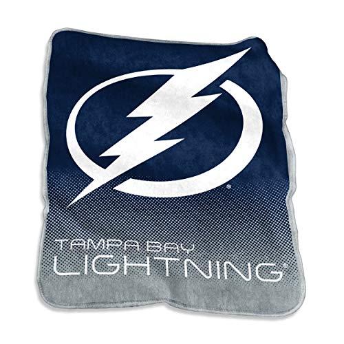 Logo Brands 827-26A NHL Tampa Bay Lightning Plush Raschel Throw with Large Logo Blanket, Multicolor, 50