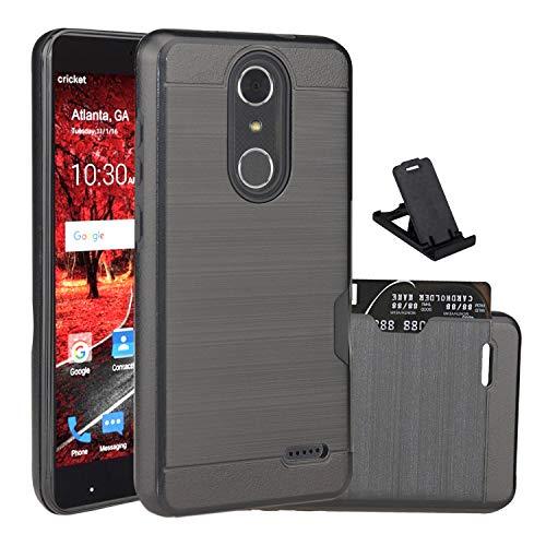 ZTE Grand X4 case,ZTE Z956 case,ZTE Blade Spark case Cell Phone Stands,Wtiaw [Brushed Metal Texture][1 Card Slots Holder] Hybrid Dual Layer Defender Case ZTE Grand X 4-CK Black
