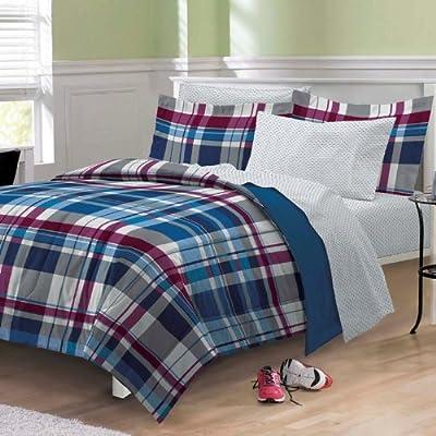 Varsity Plaid Ultra Soft Microfiber Comforter Bedding Set, Blue Multi