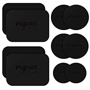 Metal Plate for Phone Magnet, 10 Pack Volport MagicPlate with 3M Adhesive Replacement for Magnetic Phone Car Mount Holder & Cradle & Stand (Vent/CD/Windshield/Dashboard) - Rectangle and Round
