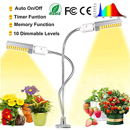 Grow Light,Jialebi 2019 Newest 45W Full Spectrum Growing Lamp for Indoor Plants, Super Bright 88 LEDs Sunlike Grow Lamp Dual Head Gooseneck Plant Light 3H/9H/12H Timer,9 Dimmable Levels 3 Switch Mode