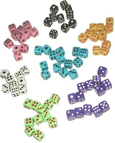 Metal Backgammon - Custom & Unique {Mini Tiny Small 5mm} 50 Ct Bulk Lot Pack Set of 6 Sided [D6] Square Cube Shape Playing & Game Dice w/ Classic Game Design [Pink, Black, Yellow, White, Light Blue, Purple & Neon Green]