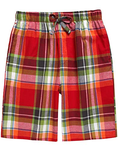TINFL Boys Soft Cotton Plaid Check Sleep Lounge Shorts BSP-58-Red ()