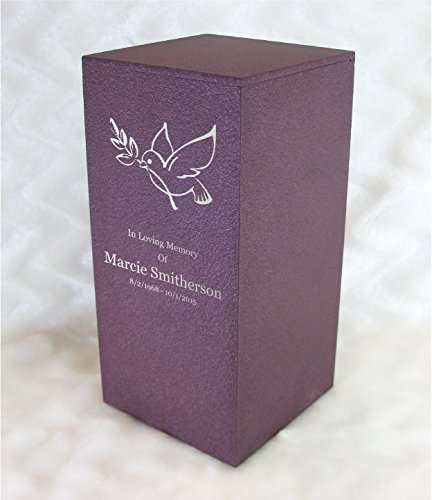PERSONALIZED Engraved Dove of Peace Cremation Urn for Human Ashes -Made in America- Handcrafted in the USA by Amaranthine Urns, Adult Funeral Urn -Eaton DL- (up to 200 lbs living weight) (Rose Wine) by Amaranthine Urn Company